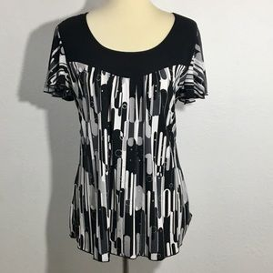 Brittany Black Blouse with Metallic Circles